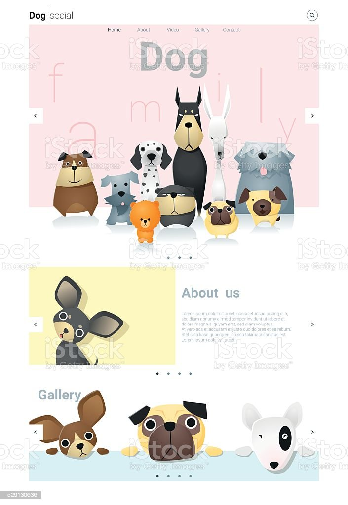 Animal website template  banner and infographic with Dog 3 vector art illustration