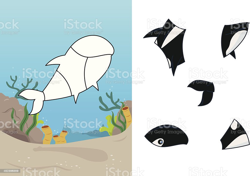 Animal whale puzzle royalty-free stock vector art