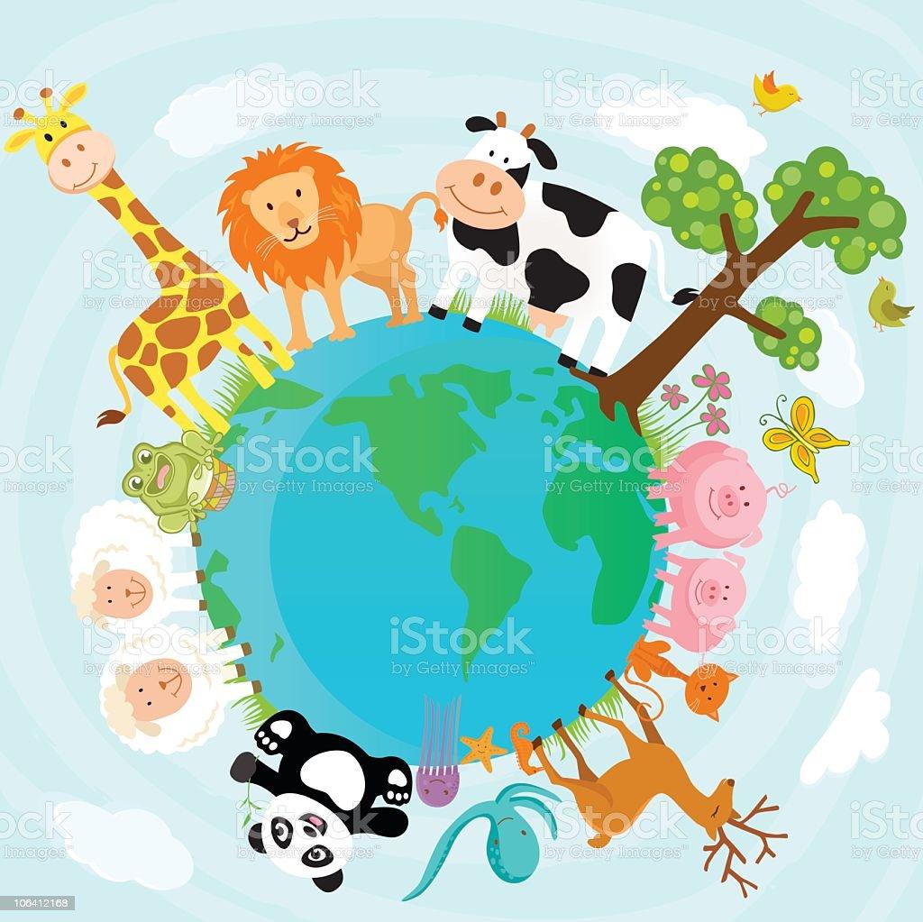 Animal World vector art illustration