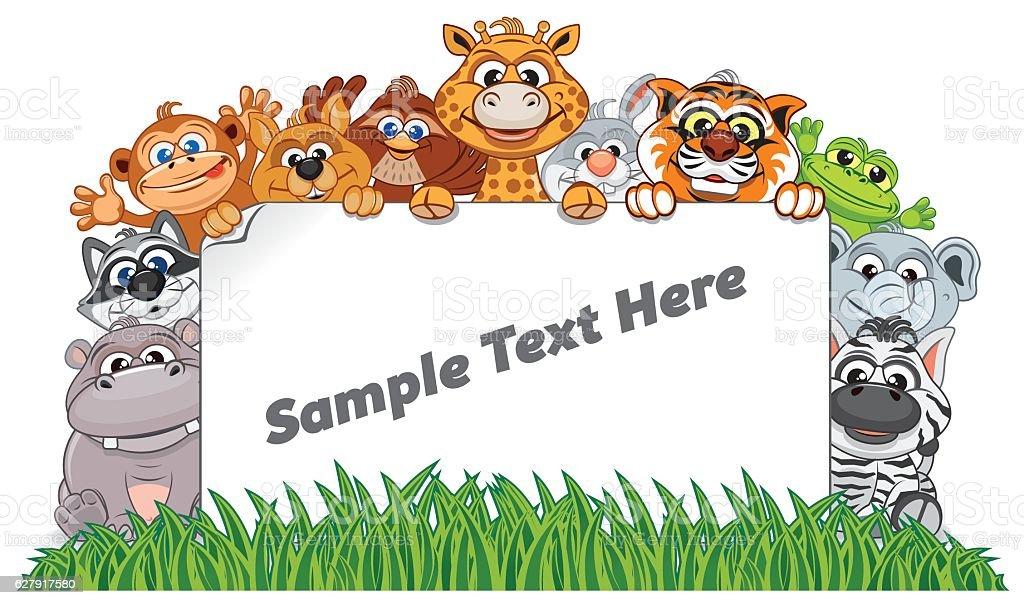 Animal Zoo Banner. Funny Animals with Empty Sign vector art illustration