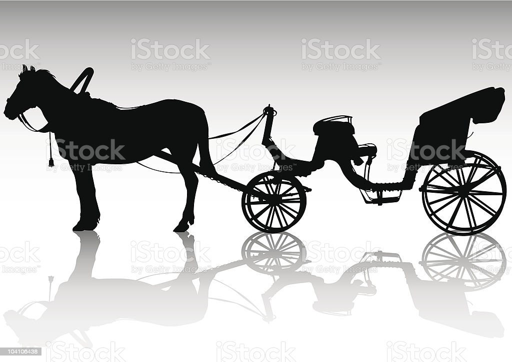 Animal-powered transport vector art illustration