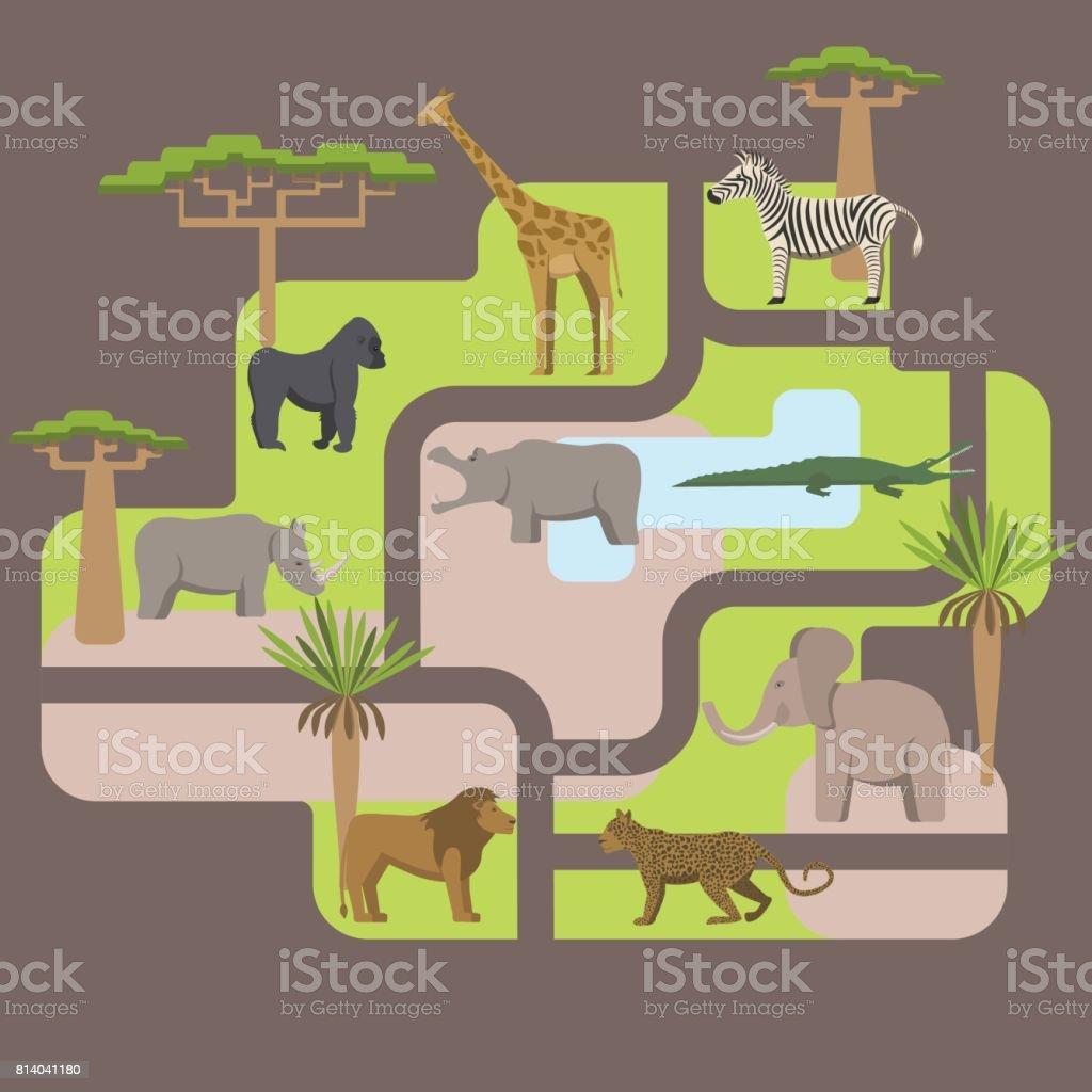 animals africa vector art illustration