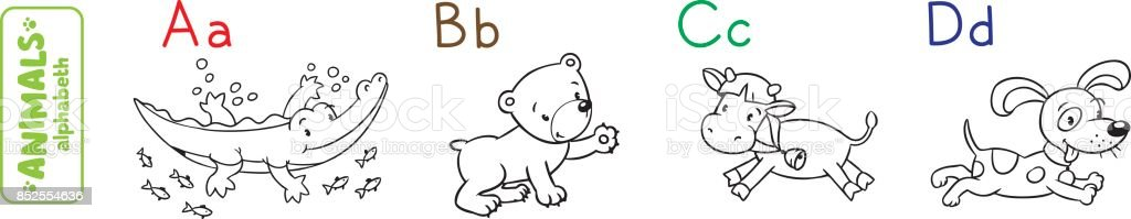 Animals alphabet or ABC. Coloring book vector art illustration