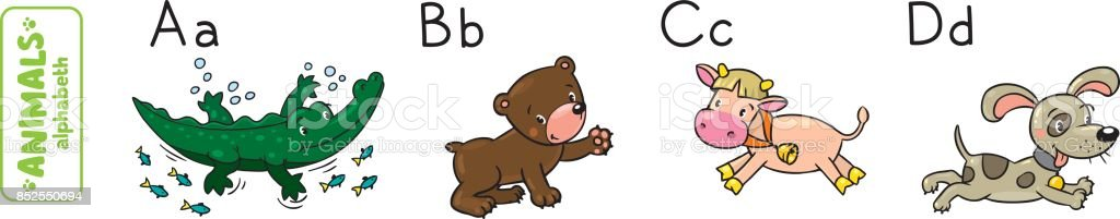 Animals alphabet or ABC. vector art illustration