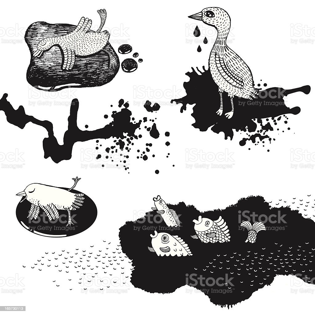 Animals and birds affected by oil spill vector art illustration