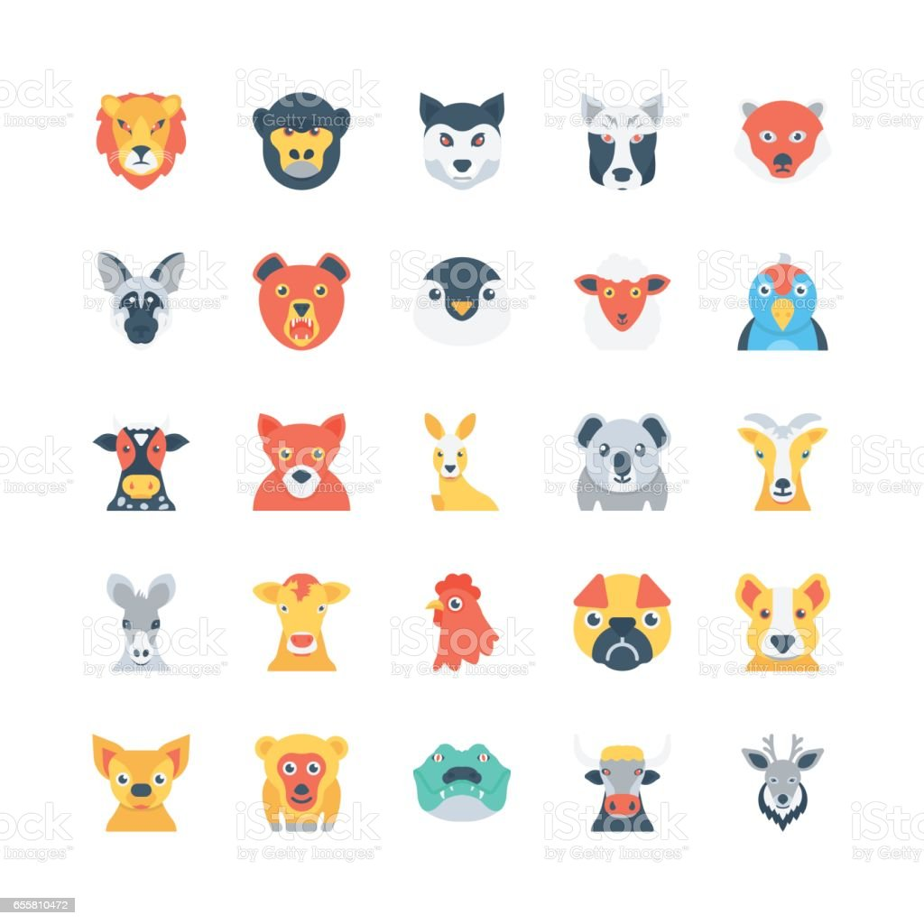 Animals and Birds Colored Vector Icons 3 vector art illustration