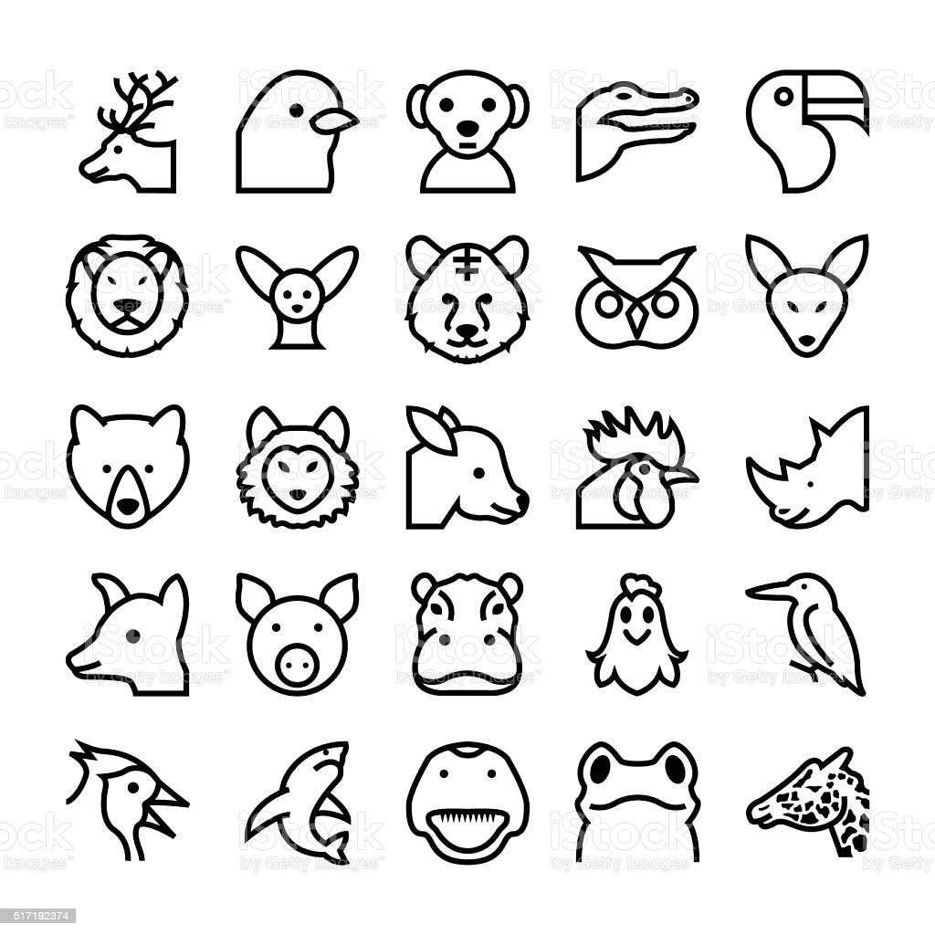Animals and Birds Vector Icons 4 vector art illustration