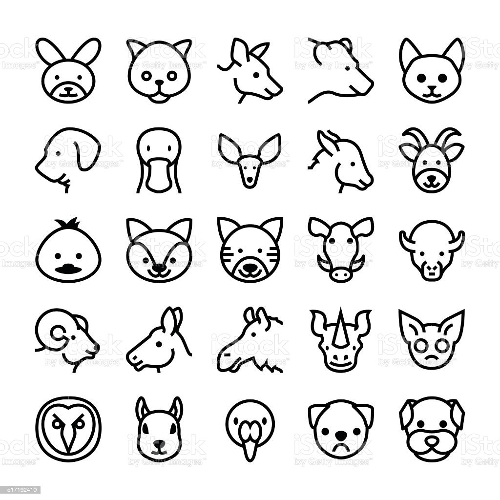 Animals and Birds Vector Icons 8 vector art illustration