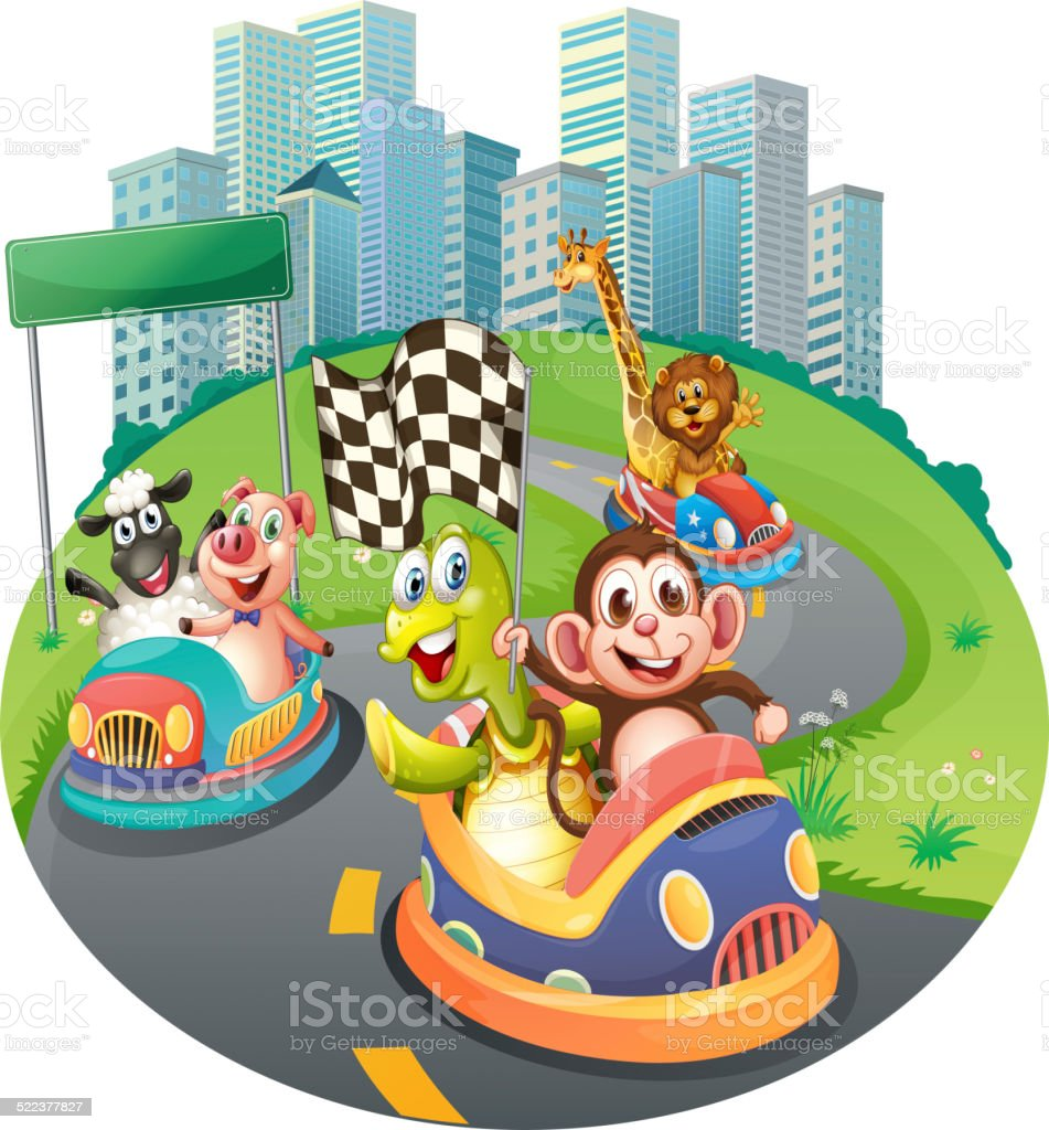 Animals and racing cars vector art illustration