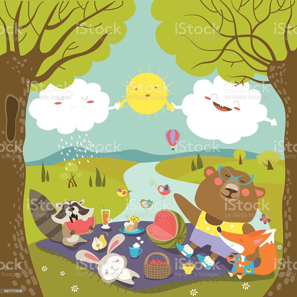 Animals at picnic in forest vector art illustration