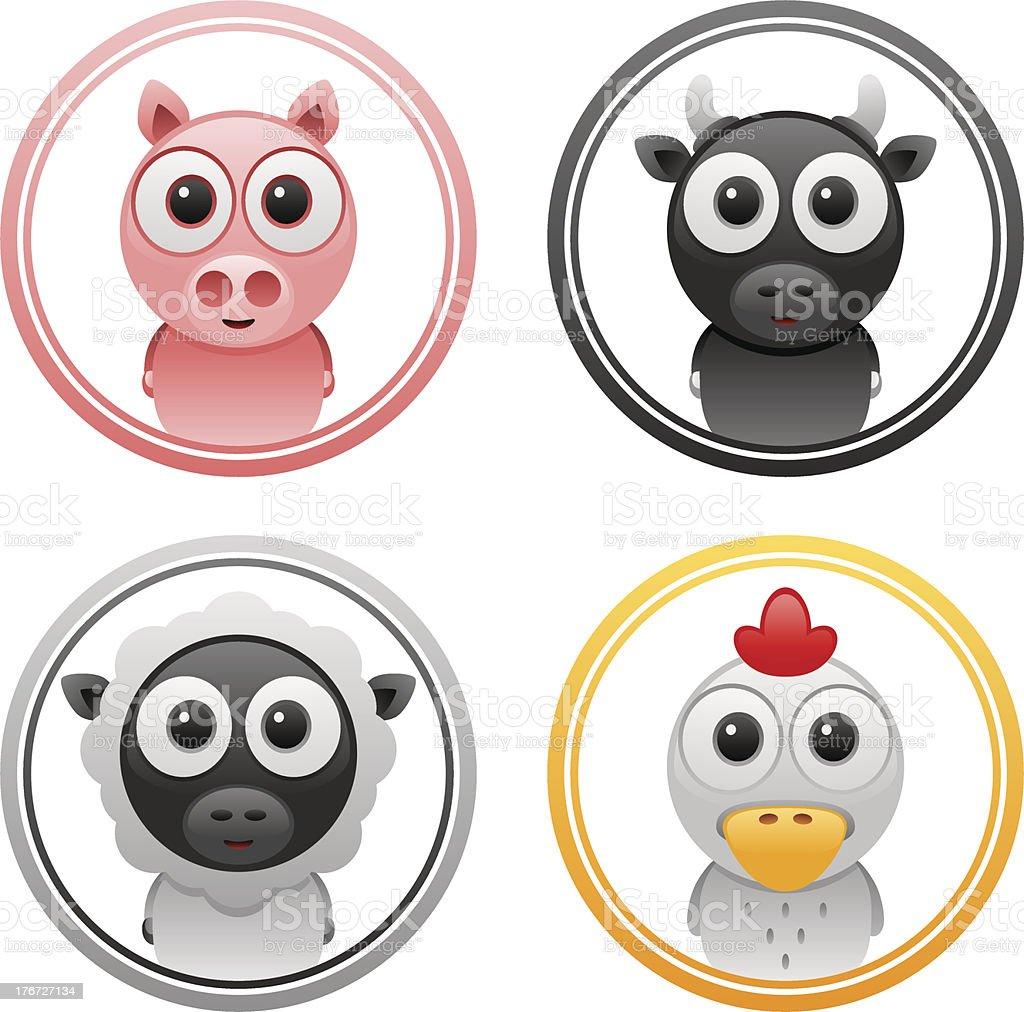 animals badge set 3 royalty-free stock vector art