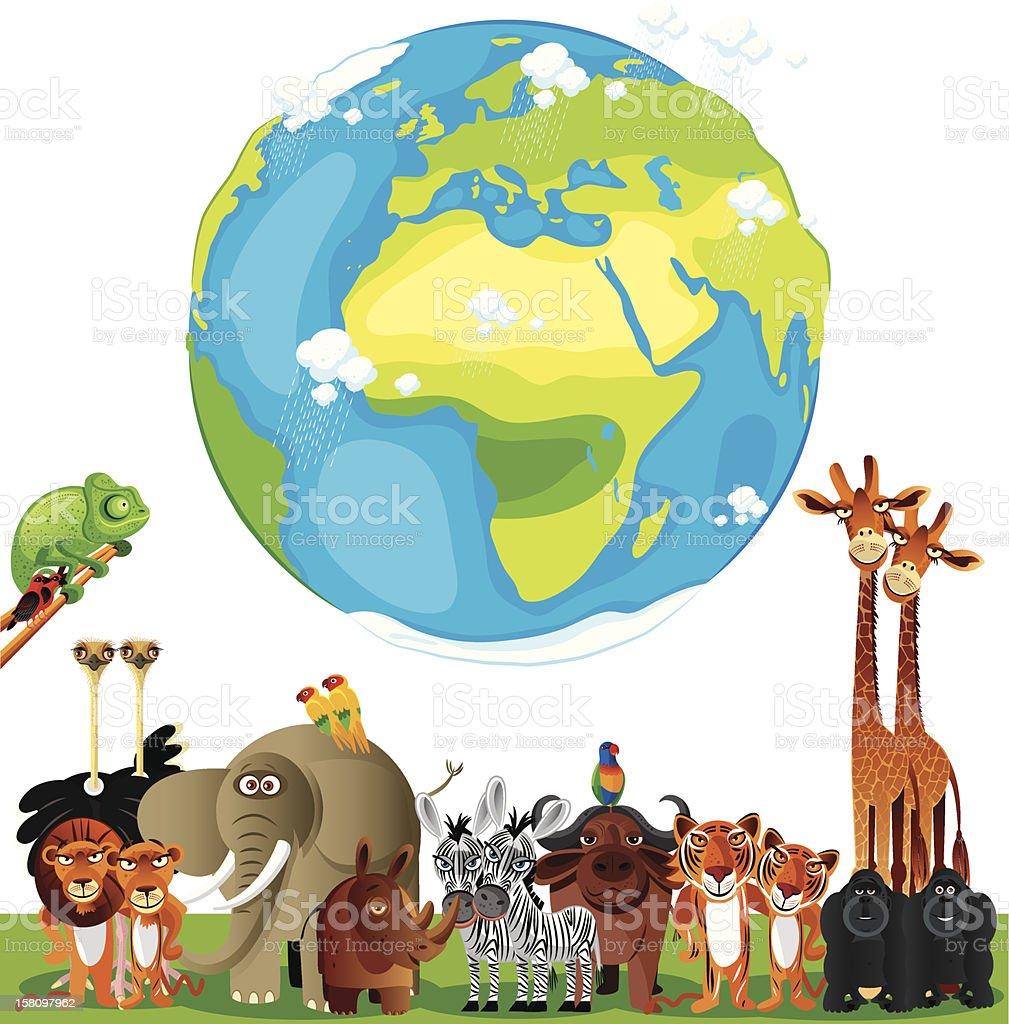 Animals Cartoon of World vector art illustration