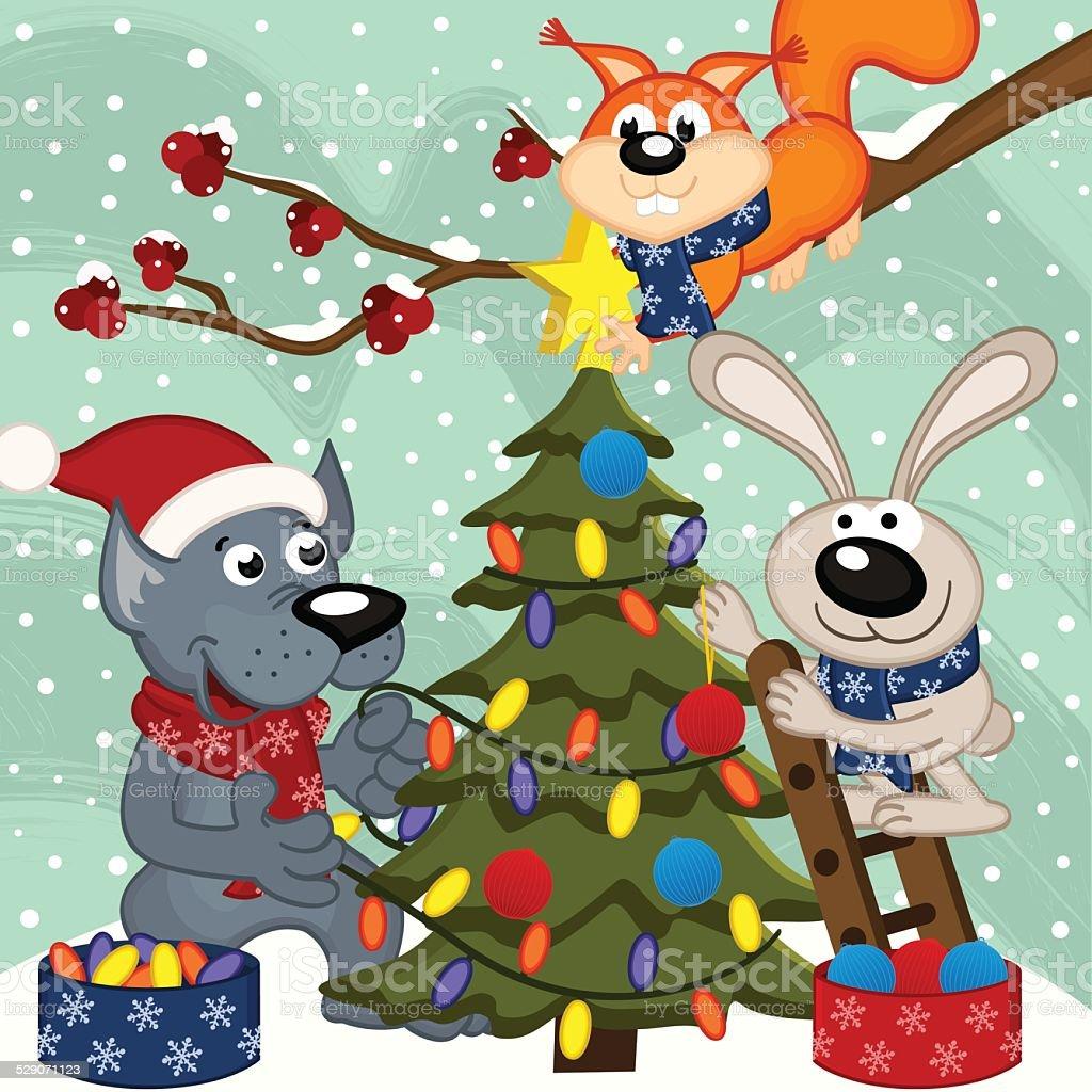animals decorating Christmas tree vector art illustration