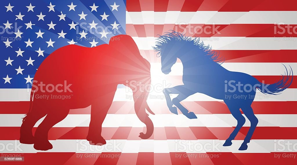 Animals Fighting American Election Concept vector art illustration