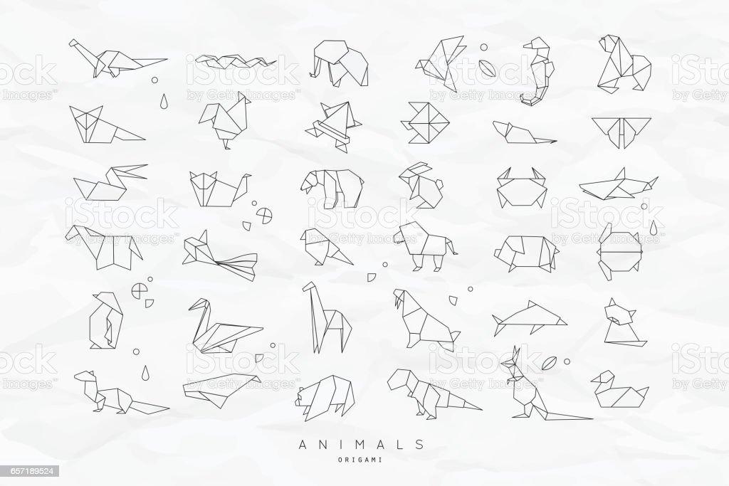 Animals flat origami set crumpled vector art illustration