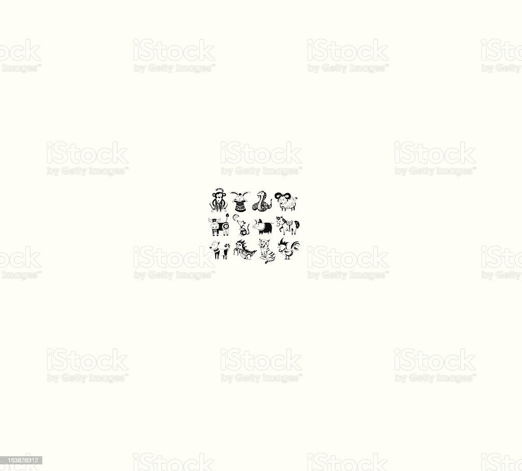 Animals from Chinese horoscope royalty-free stock vector art