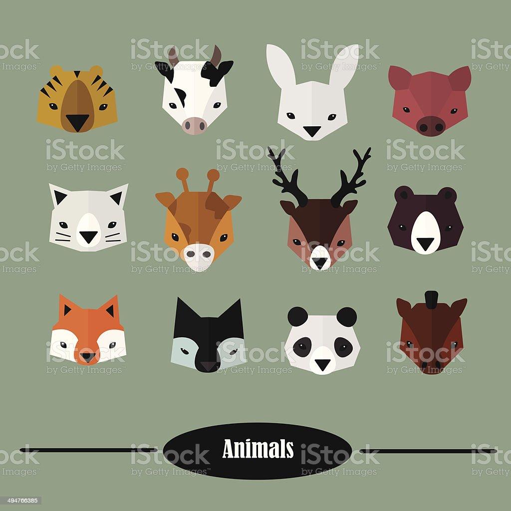 Animals heads vector set. Flat Design vector art illustration