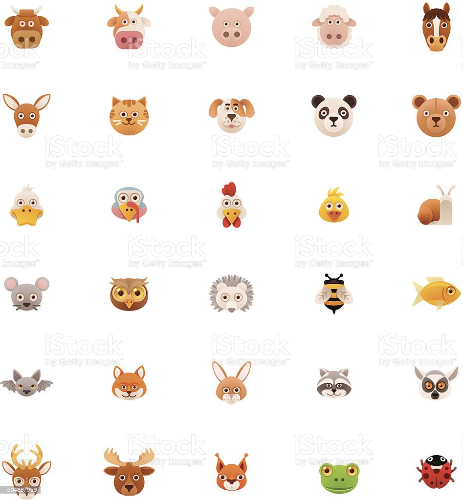 Animals icon set vector art illustration