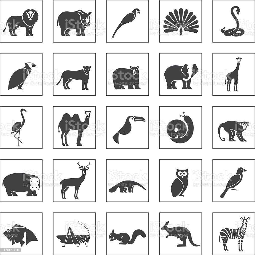 Animals icons set vector art illustration
