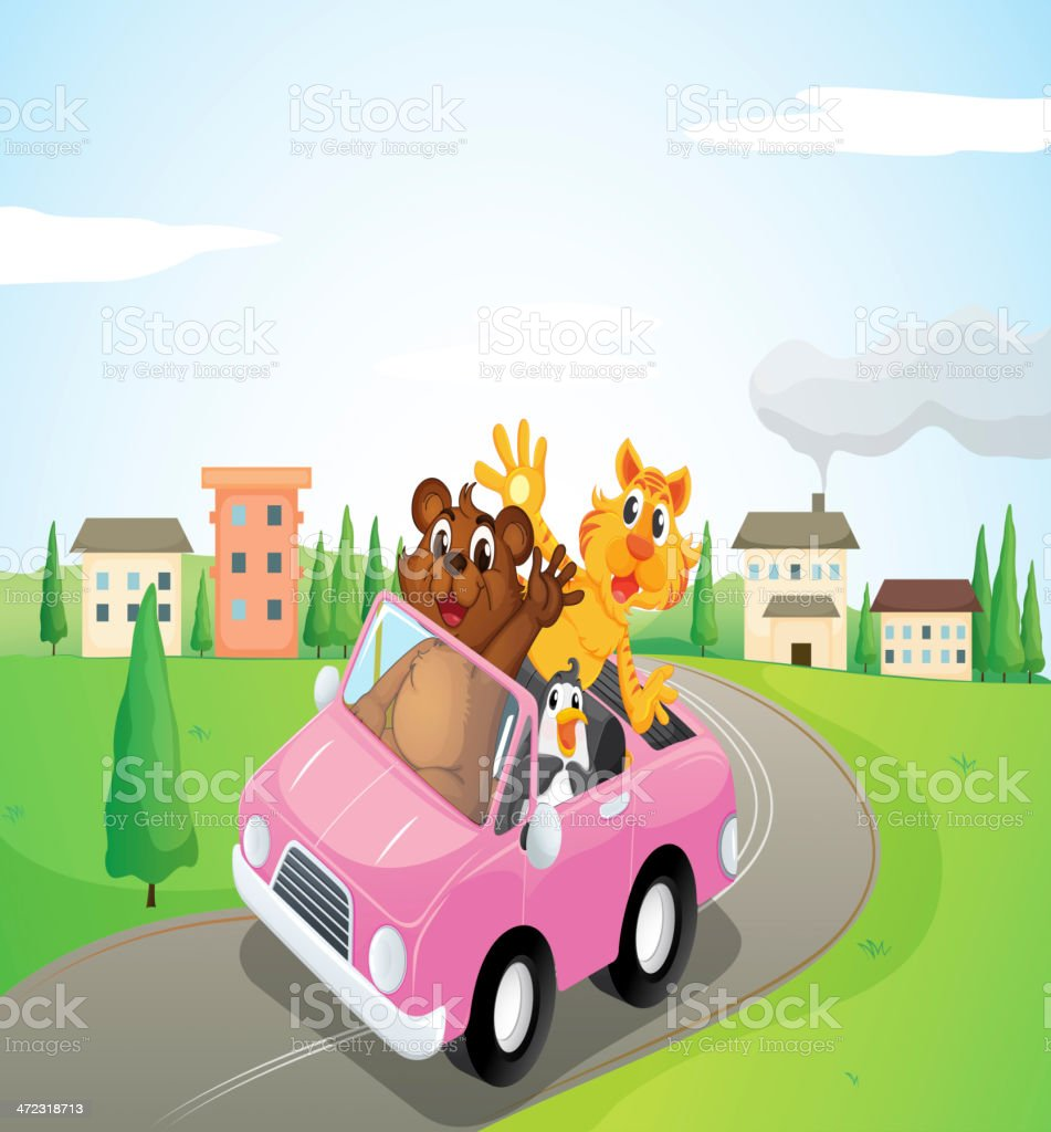 Animals in a car royalty-free stock vector art