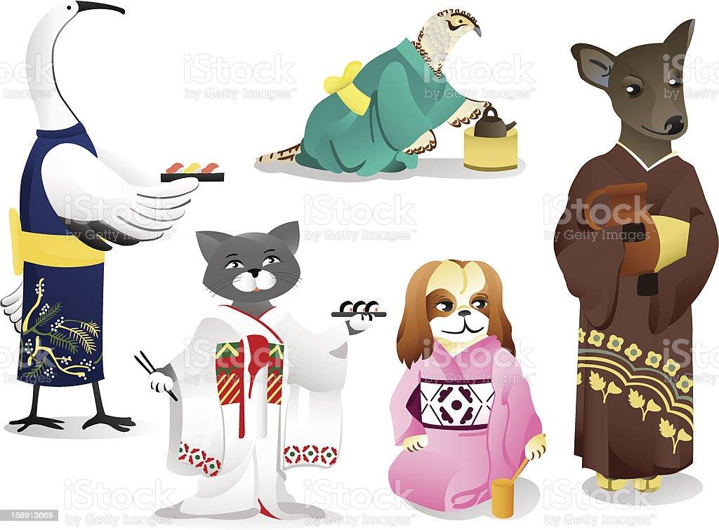 Animals in a kimono royalty-free stock vector art