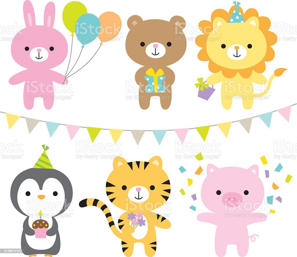Animals in a party theme vector art illustration