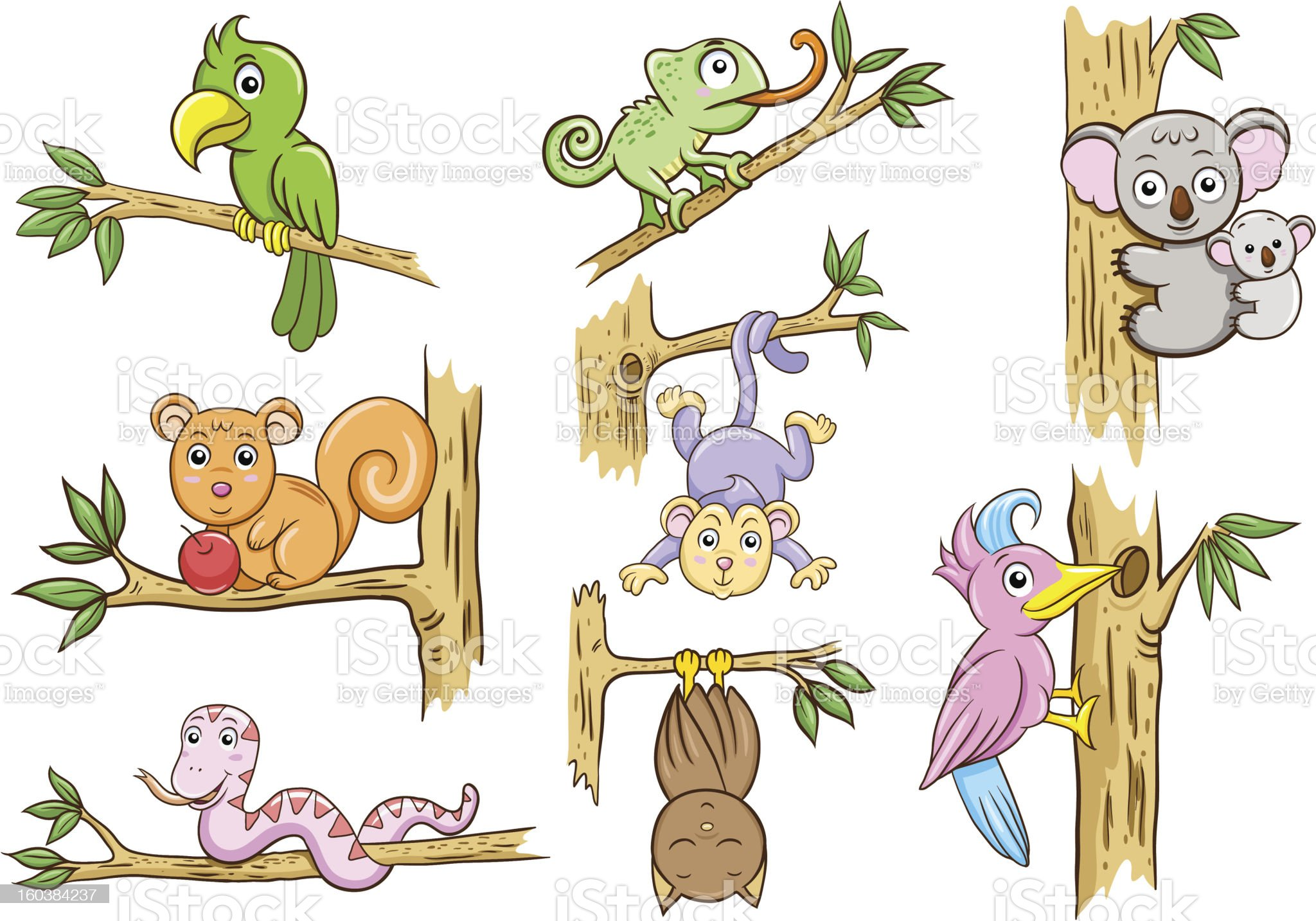 animals in a tree royalty-free stock vector art