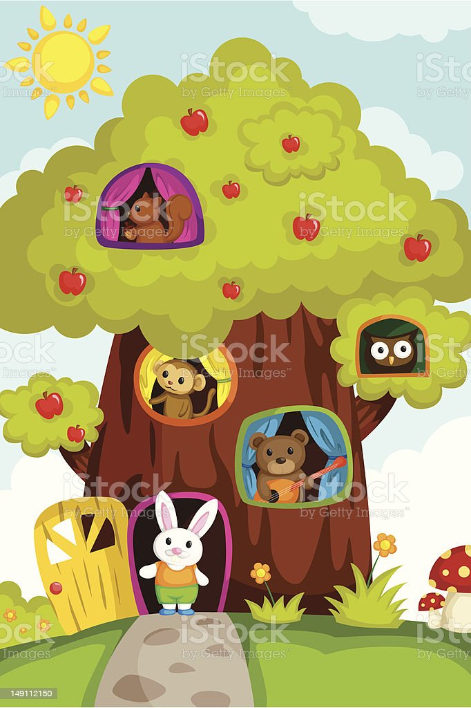 Animals in a treehouse royalty-free stock vector art