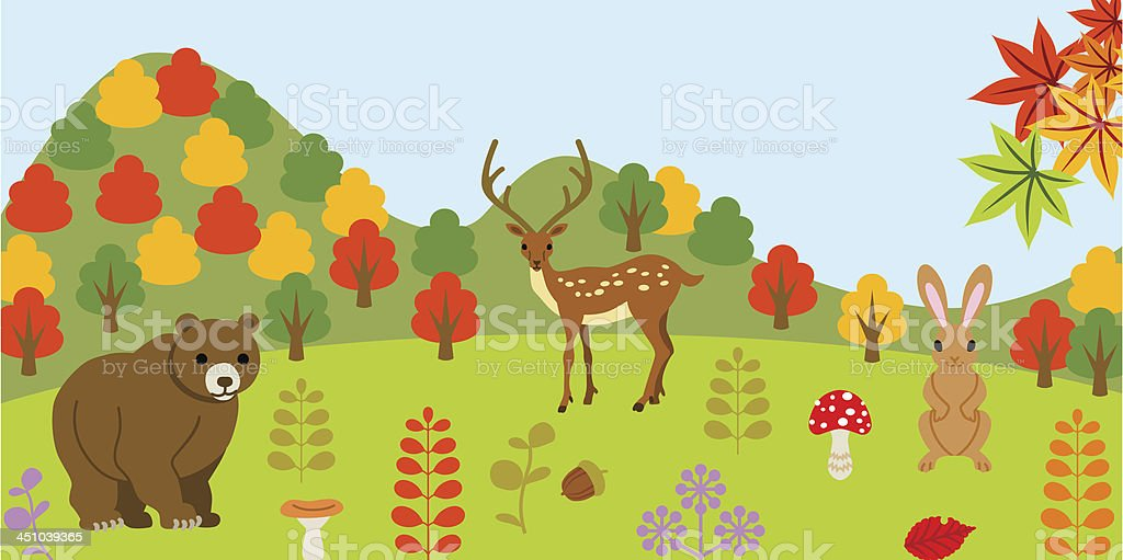 Animals in autumn forest royalty-free stock vector art