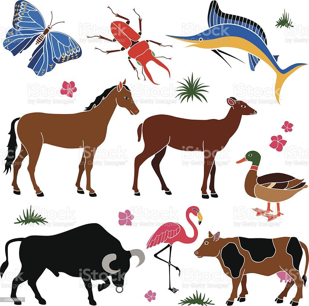 animals in color vector art illustration