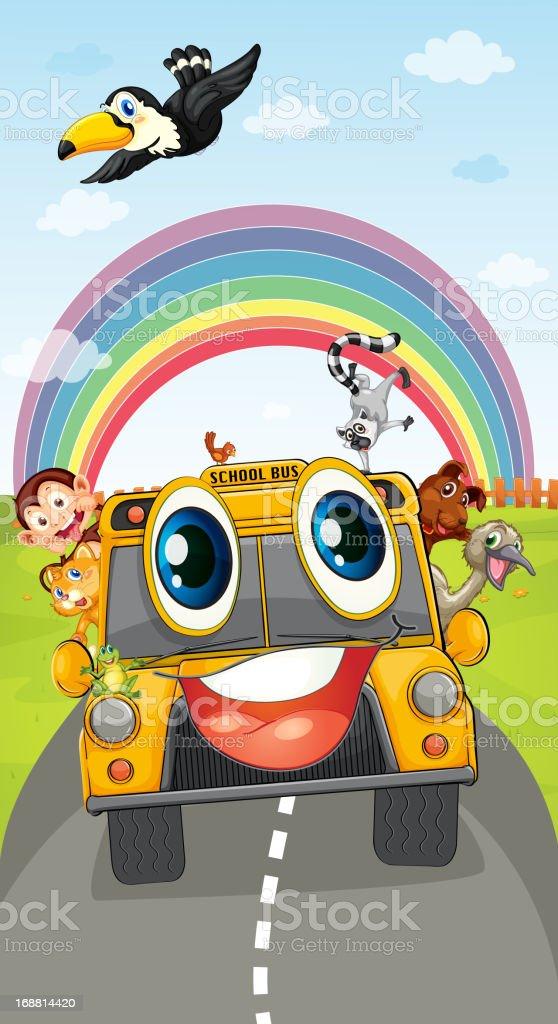 Animals in school bus royalty-free stock vector art