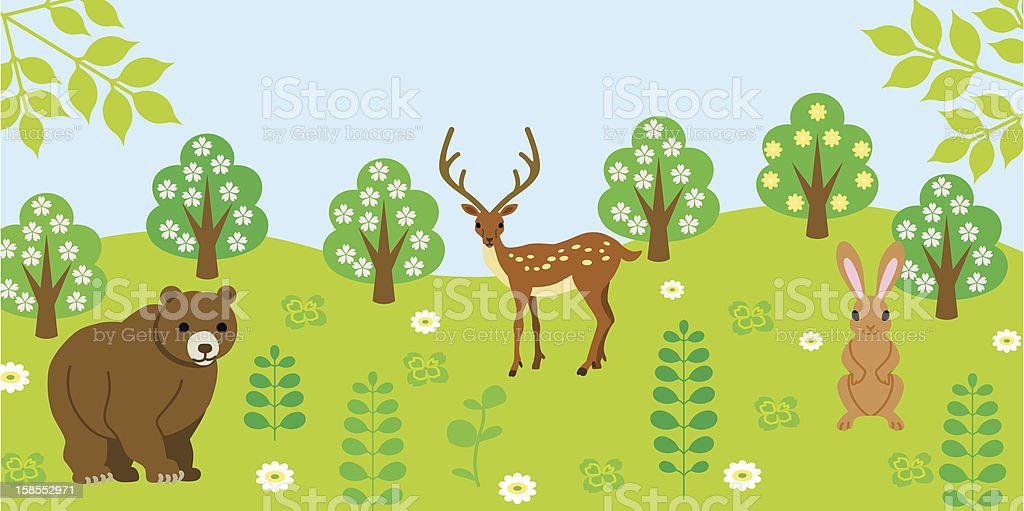 Animals in the forest, Sunny sky royalty-free stock vector art