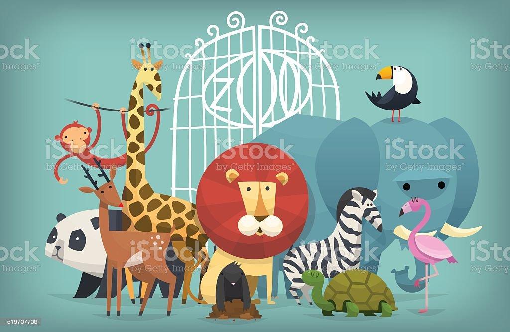 animals in Zoo vector art illustration