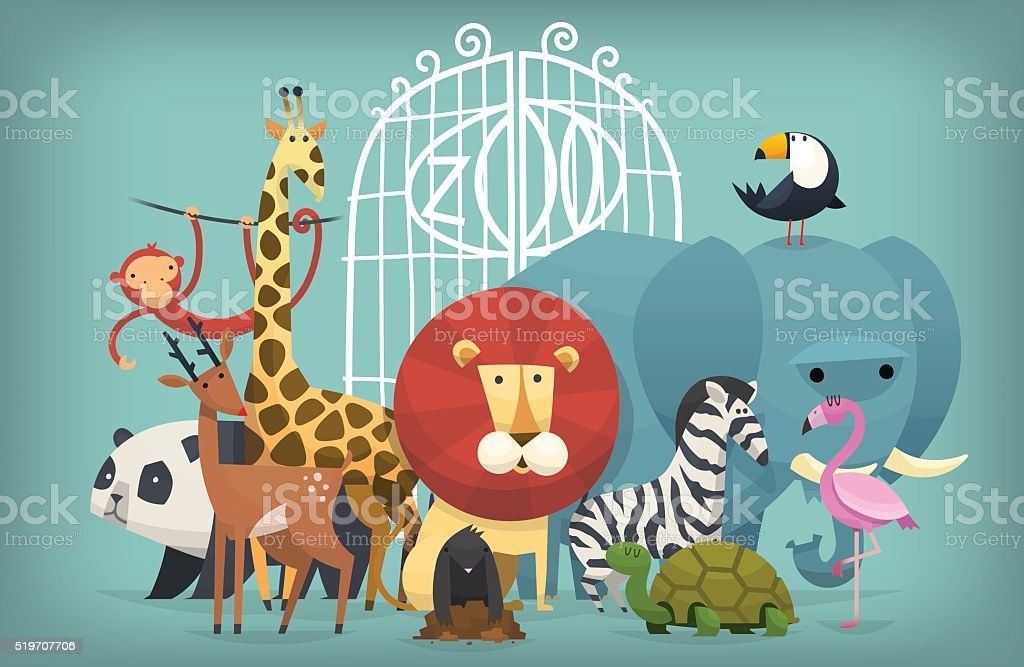 animals in Zoo vector art illustration