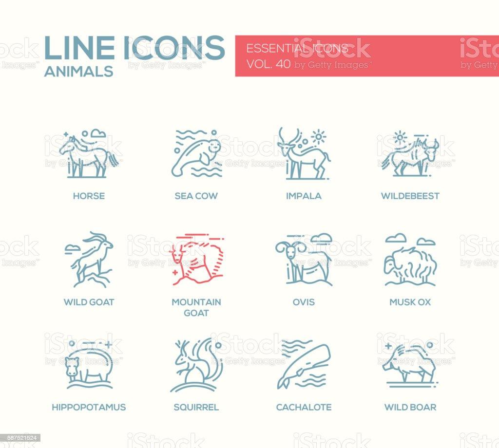 Animals - line design icons set vector art illustration