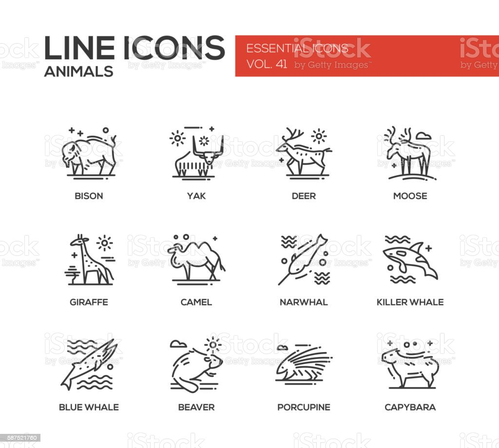 Animals - line design icons set vector art illustration