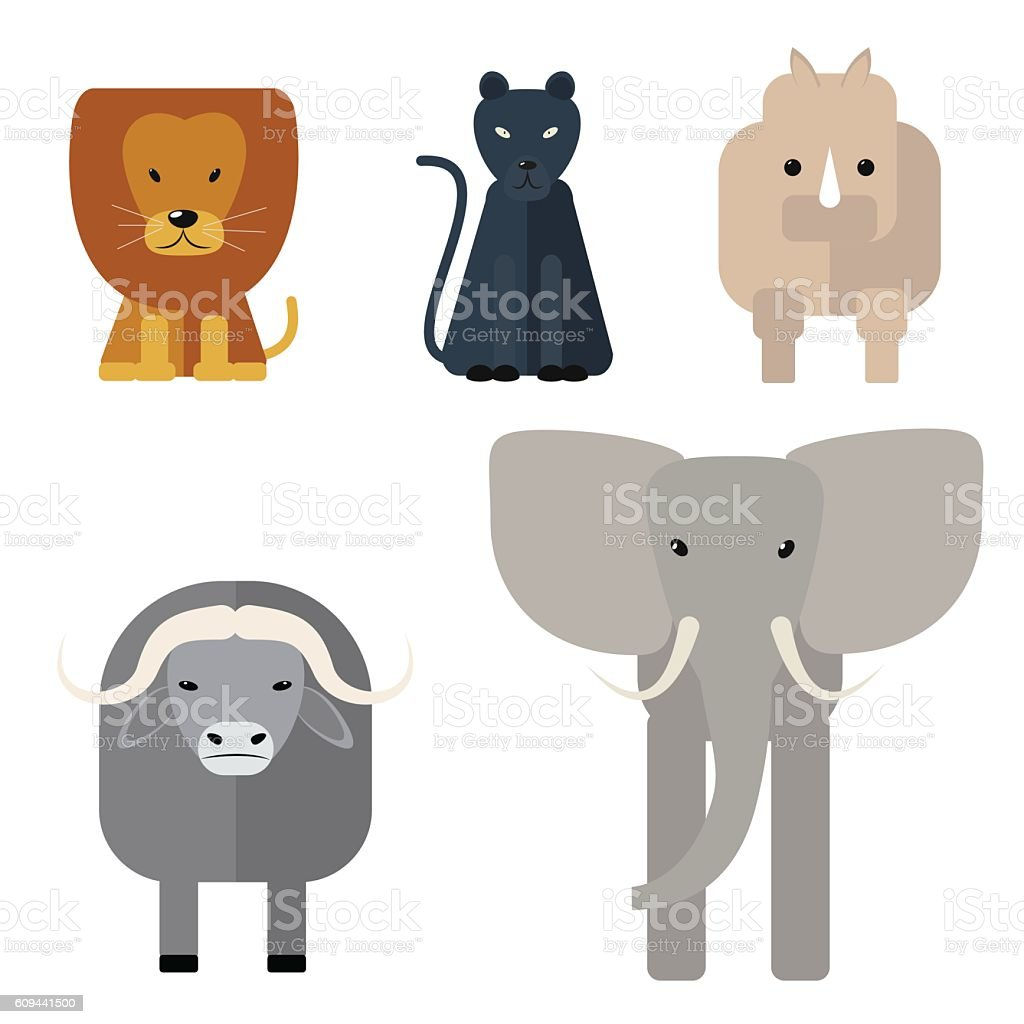 Animals of Africa. Big Five . Vector illustration of a flat vector art illustration