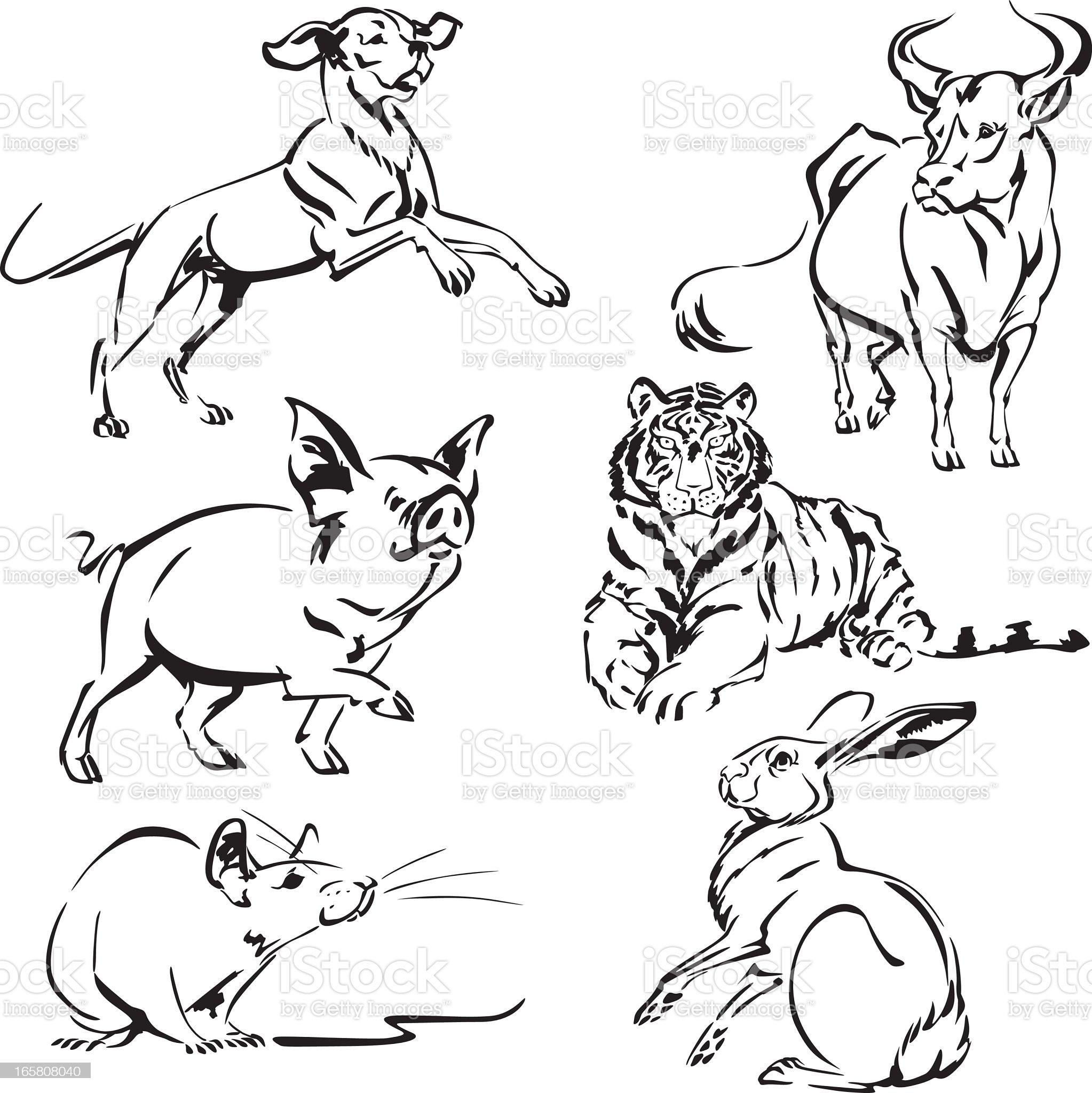 Animals of asian zodiac2 royalty-free stock vector art