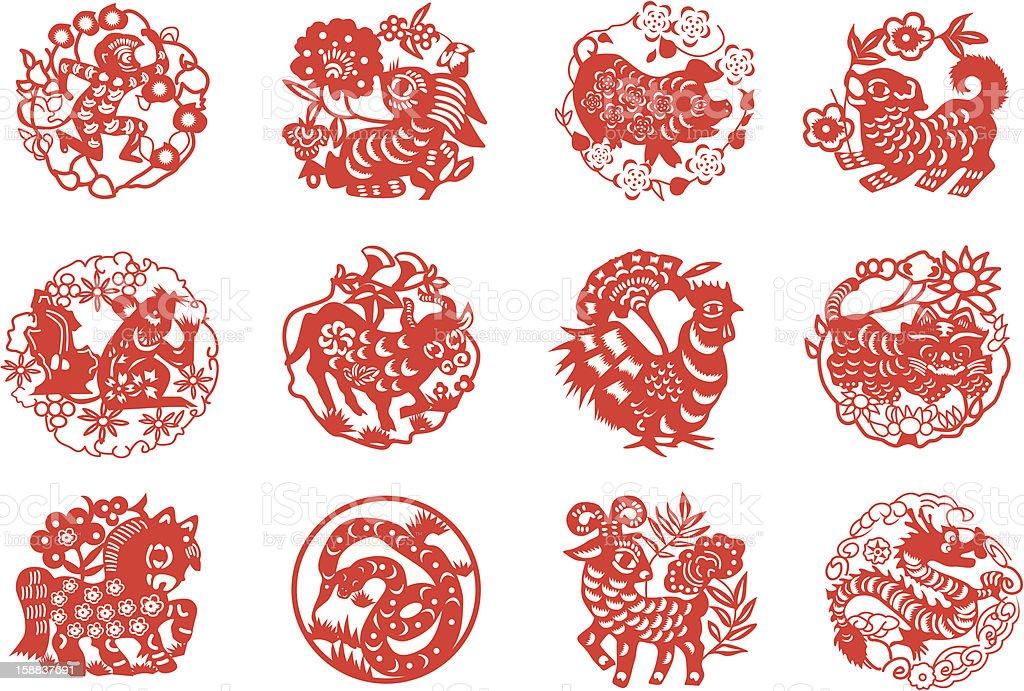 Animals of Chinese Calendar vector art illustration