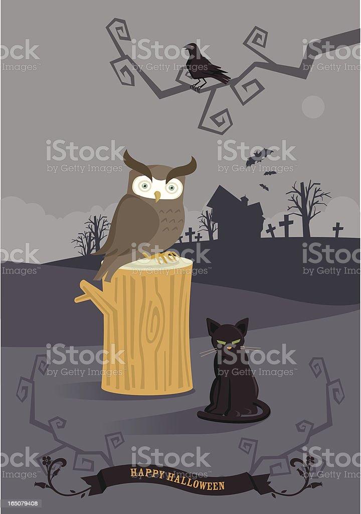 animals of halloween vector art illustration