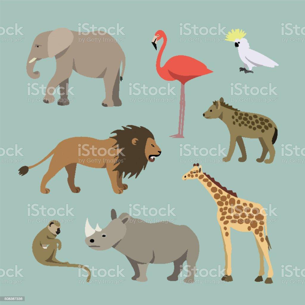 Animals of the African lioness, elephant, rhinoceros, giraffe, flamingo, monkey vector art illustration