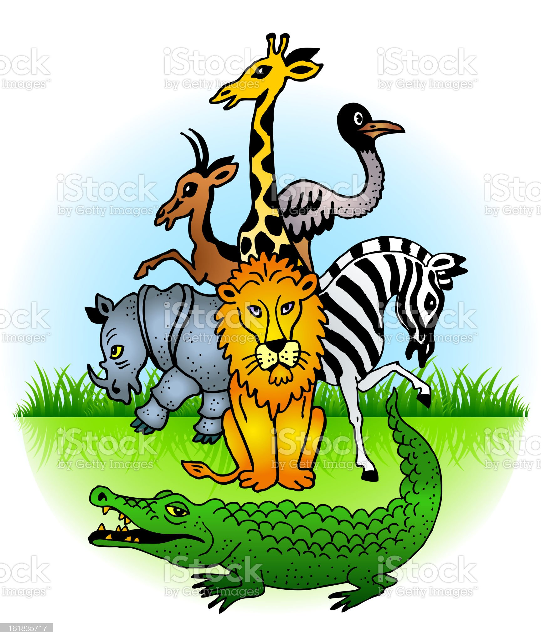 Animals of the African safari royalty-free stock vector art
