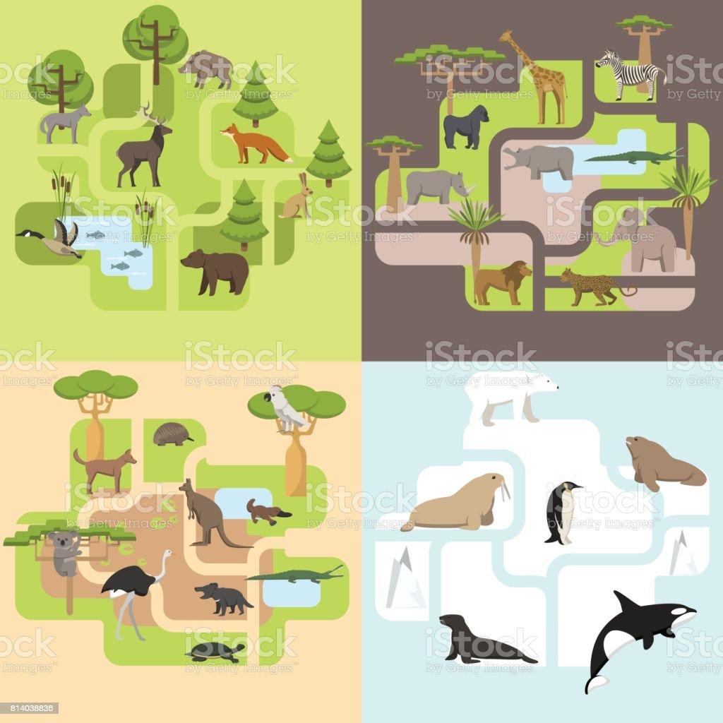 Animals of the world vector art illustration