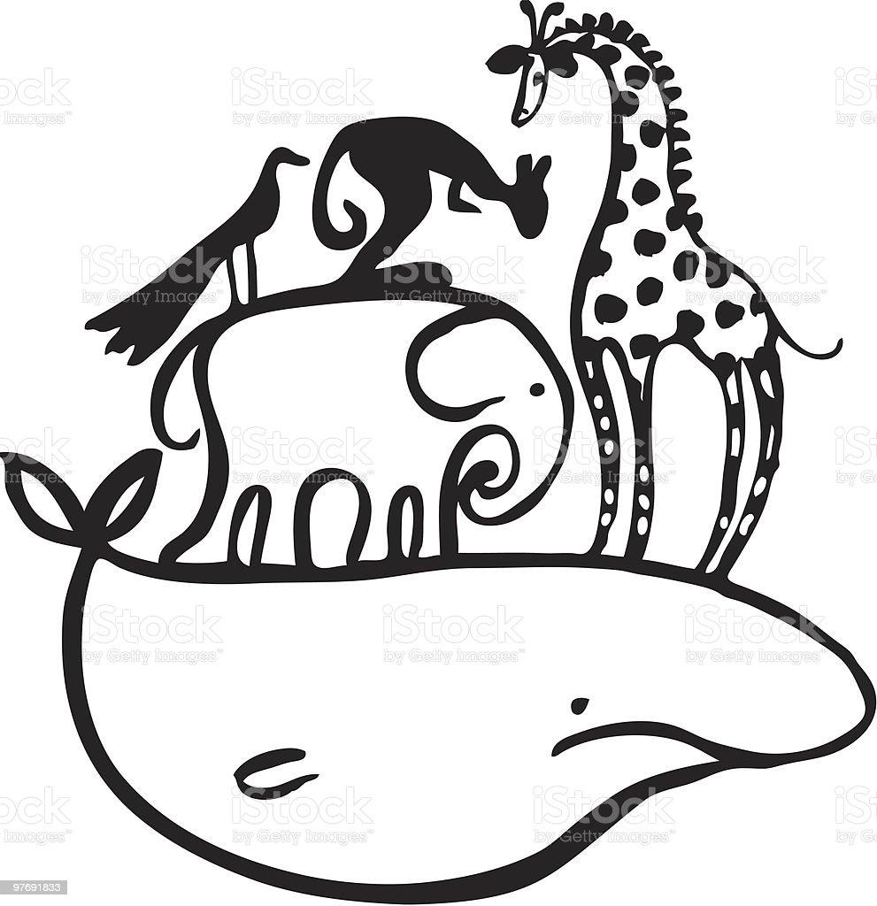 Animals piled up vector art illustration