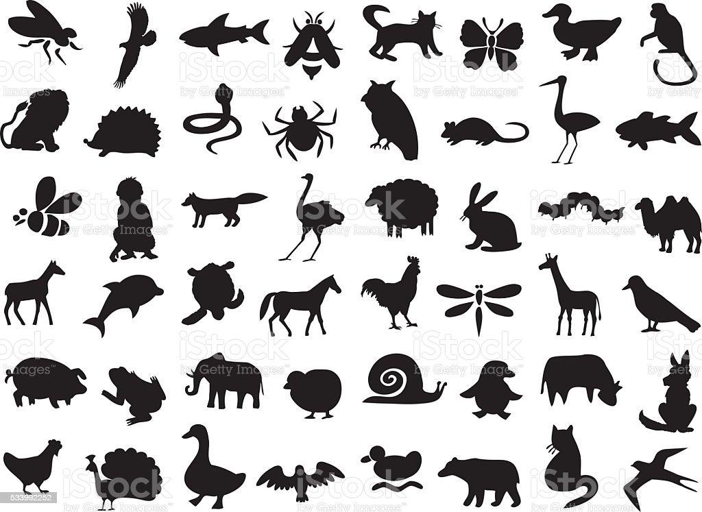 animals silhouettes set vector art illustration