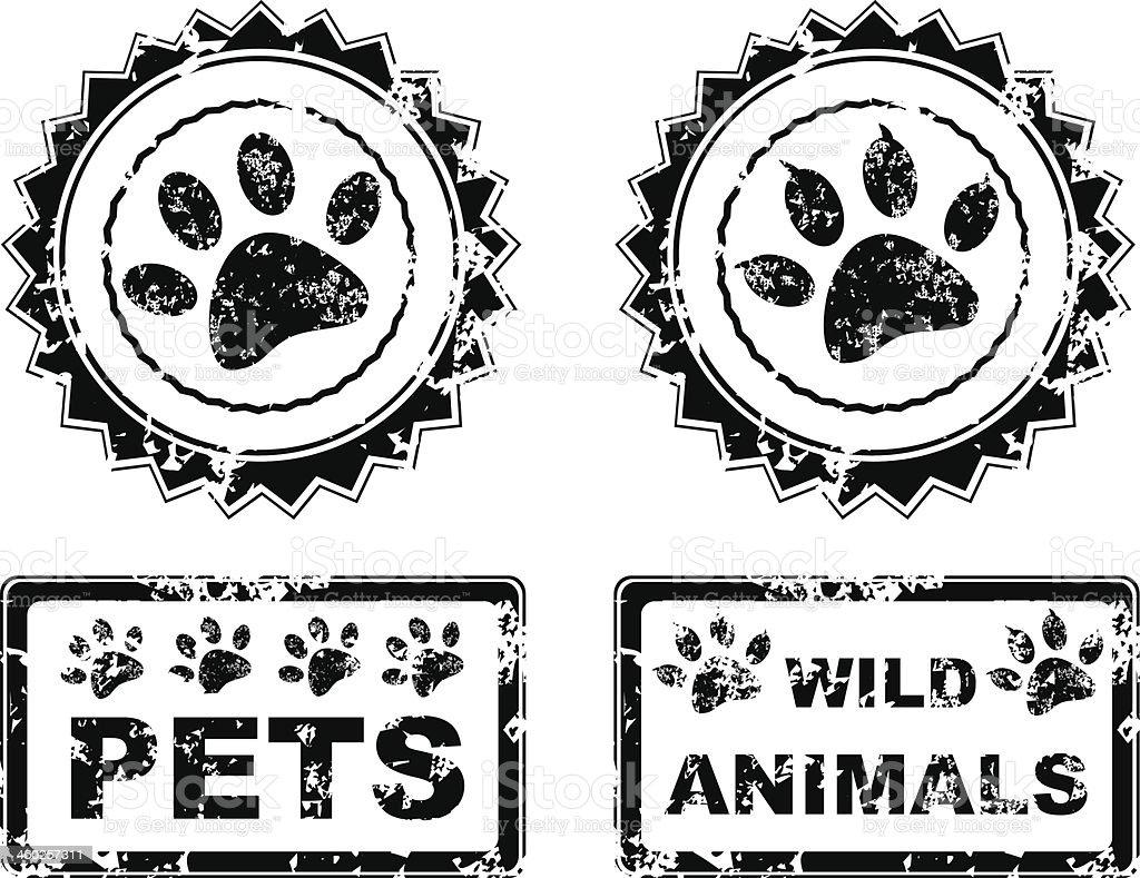 animals stamp vector art illustration