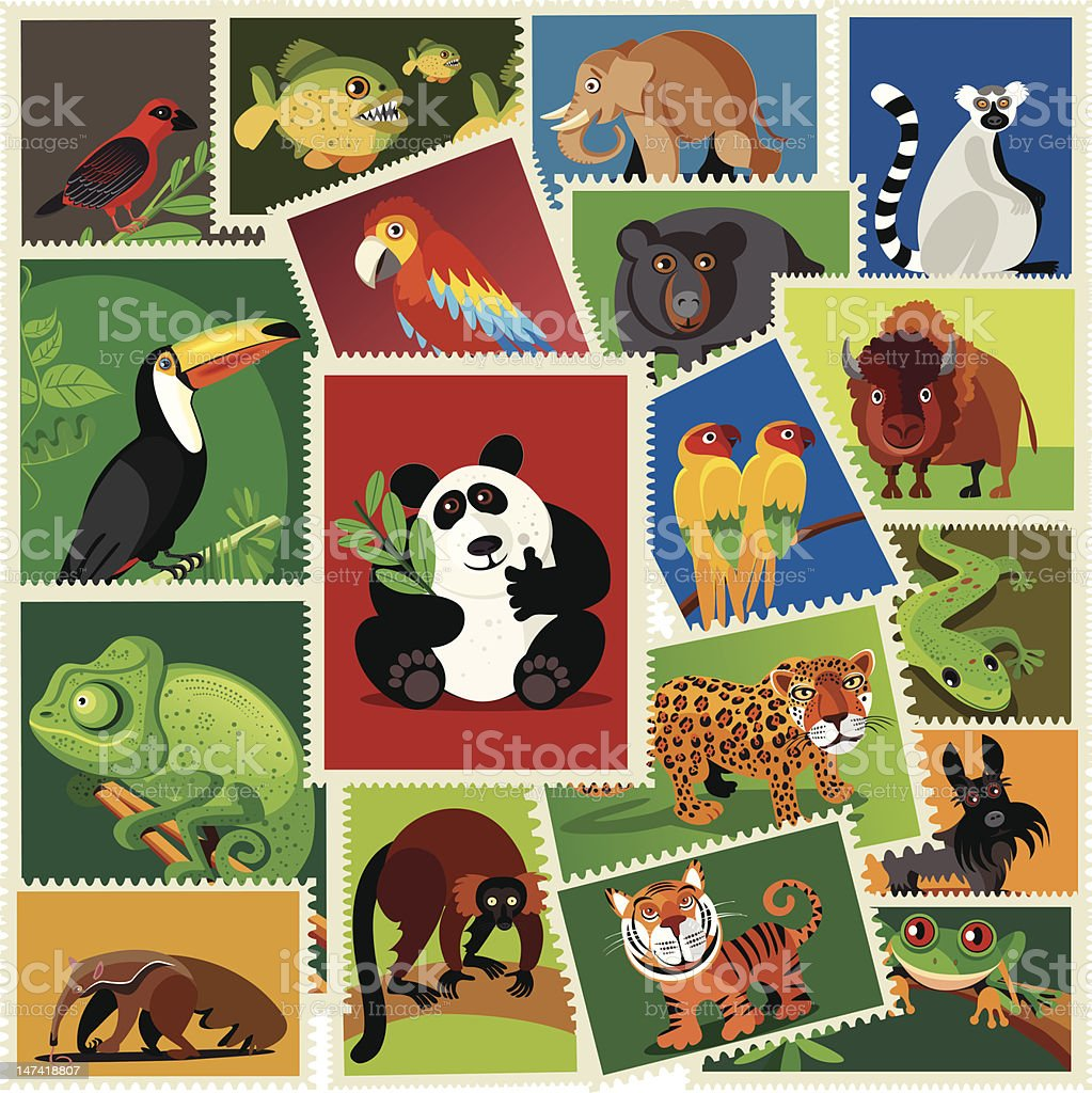Animals stamps vector art illustration