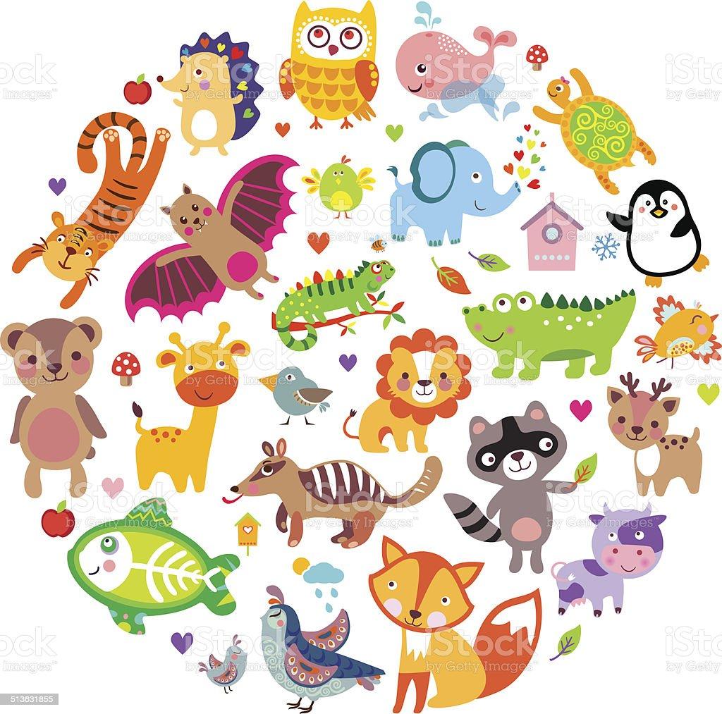 AnimalsCirc vector art illustration