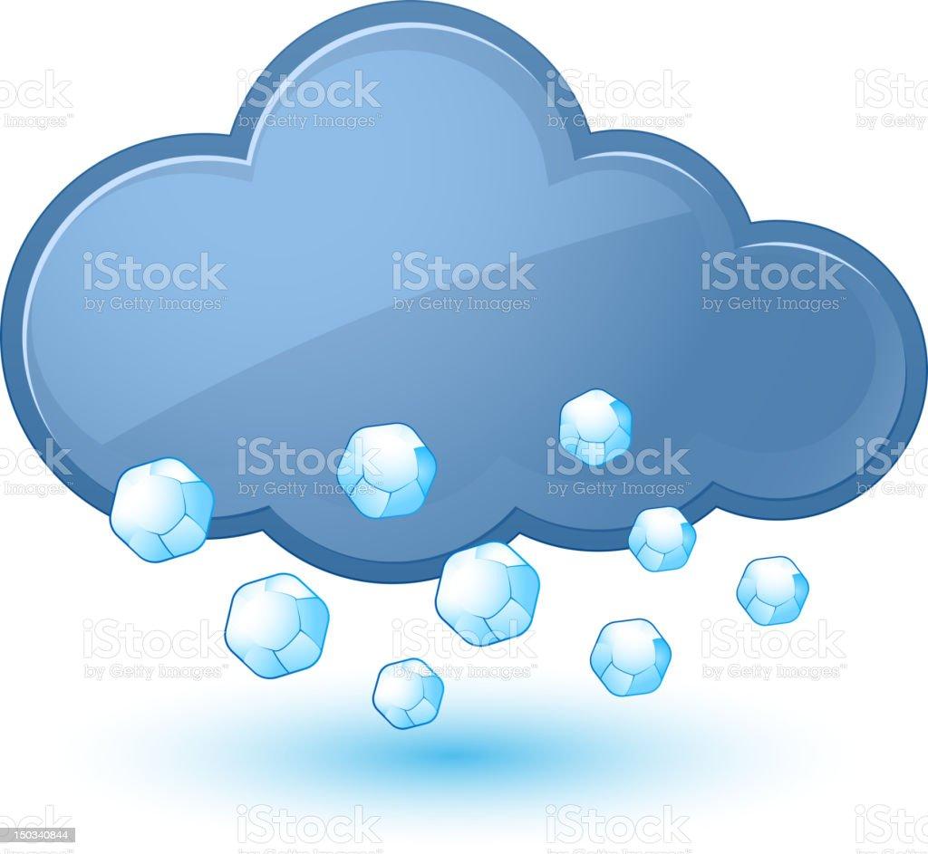 Animated blue cloud and diamond rain drops  vector art illustration