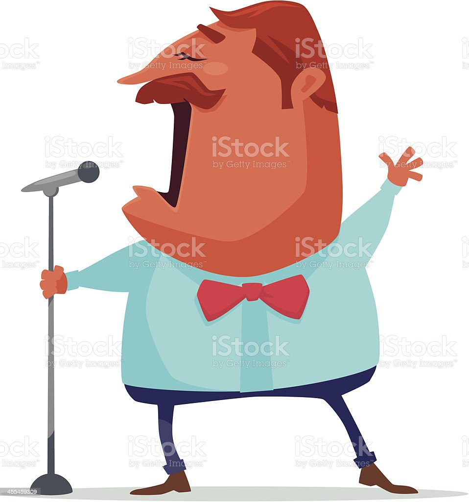 Animated character singing through a microphone vector art illustration